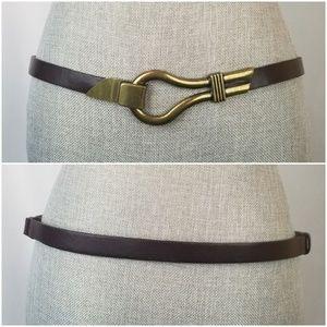 Chico's Adjustable Leather Gold Hook Belt